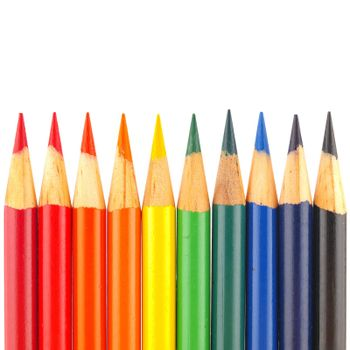 Rainbow of Colored Pencils Isolated on White