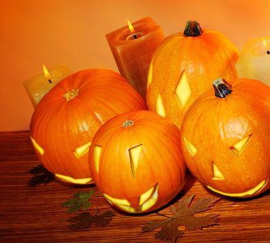 Glowing Halloween pumpkins