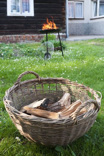 Firewood in the basket