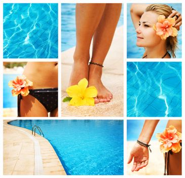 Swimming Pool Collage. Vacation Concept