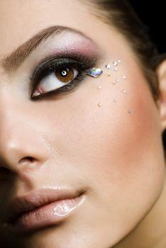 Beautiful Girl's Face. Perfect makeup. Clear skin