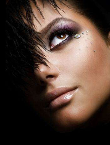 Fashion Girl's Face. Perfect makeup