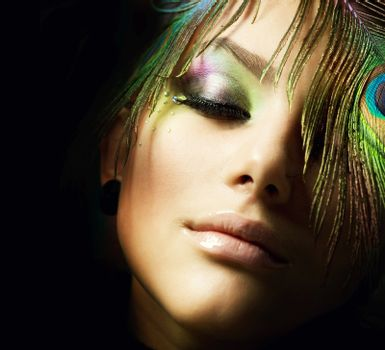 Beautiful Fashion Woman Face. Perfect Makeup