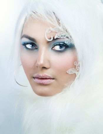 Winter Beauty. High-key Fashion Art. Perfect makeup