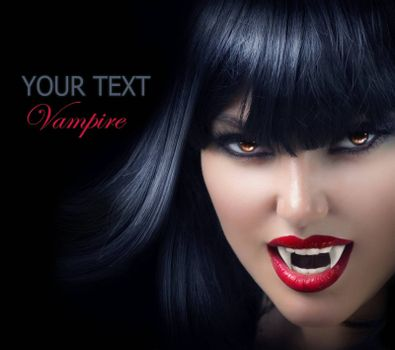 Halloween Vampire Beautiful Woman over black