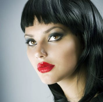 Brunette Extreme makeup.Gothic Girl.Haircut