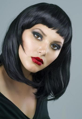 Brunette Extreme makeup.Haircut