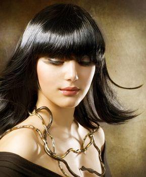 Beautiful Brunette. Hairstyle. Egyptian Style