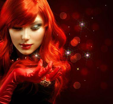 Red Hair. Fashion Girl Portrait. Magic