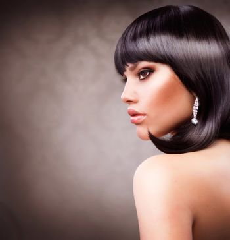 Beautiful Brunette Girl. Haircut. Hairstyle