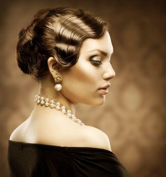 Classical Retro Style Portrait. Romantic Beauty. Vintage