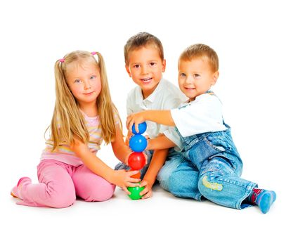 Children playing on the floor.Educational games for kids