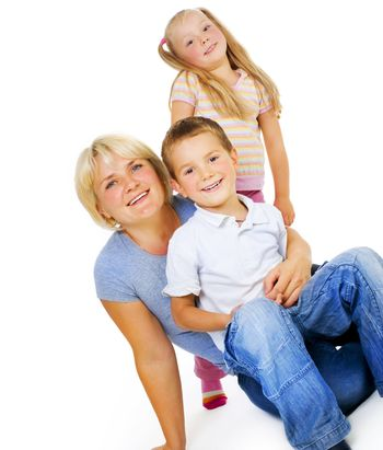 Healthy Mother with kids having fun .Happy Family