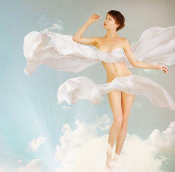 Woman. Perfect slim body.Beauty.Full-length Portrait
