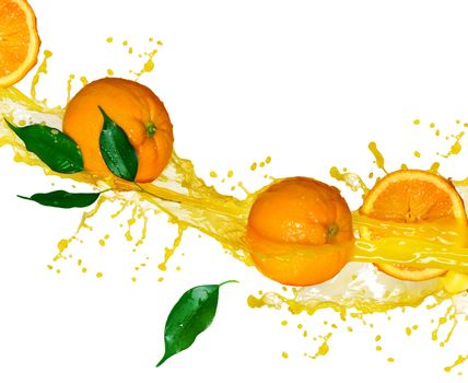 Orange fruits and splashing Juice in motion