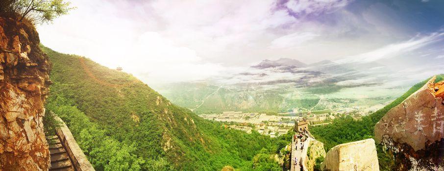 China. Great Wall. Panoramic View
