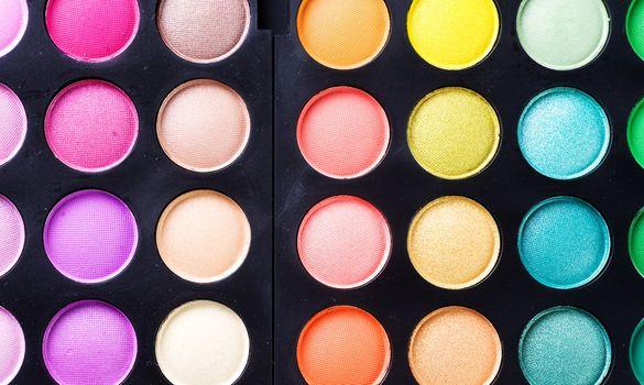 Makeup. Professional multicolor eyeshadow palette