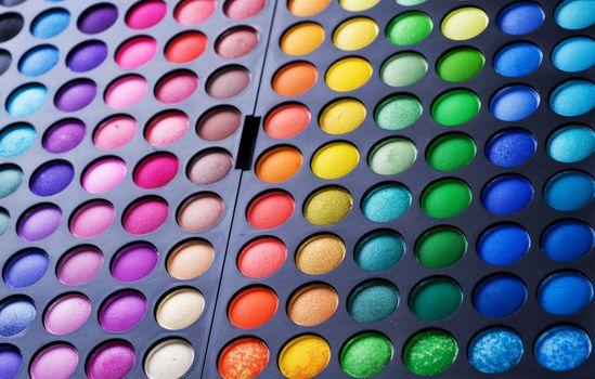 Make-up set. Professional multicolor eyeshadow palette