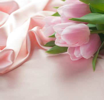 Beautiful Tulips And Silk. With Copy Space