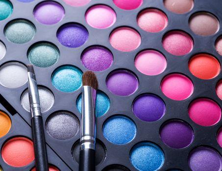 Makeup set. Professional multicolor eyeshadow palette