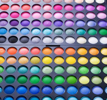 Makeup set. Professional multicolor eye shadow palette