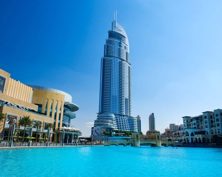 DUBAI, UAE - NOVEMBER 29: Address Hotel and Lake Burj Dubai on Nov 29, 2011 in Dubai. Located in Downtown Dubai, overlooking the world�s tallest tower, Burj Khalifa and attached to The Dubai Mall