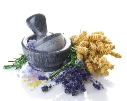 Herbal Medicine Concept. Mortar And Herbs