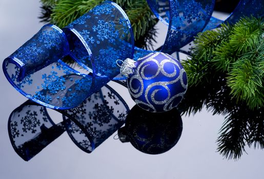 Christmas decoration with reflection