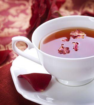 Healthy Tea with rose petals