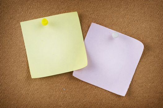 Note Papers With Push Pins On Notice Board