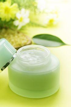 Jar of moisturizing facial cream