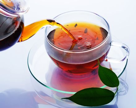 Pouring Healthy Tea Over White