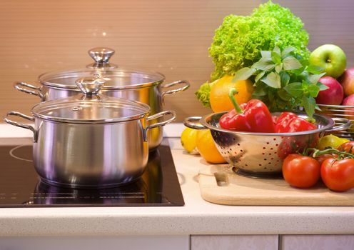 Kitchen Cooking closeup.Diet