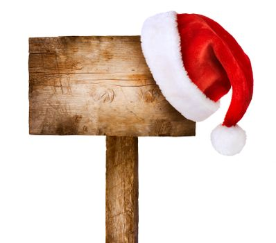 Wooden sign with Santa hat isolated on white