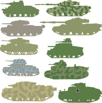 Vector set of military tanks