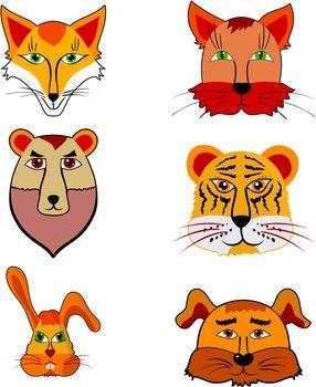 Set of cartoon illustration of different animals