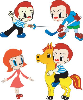 set of the playing funny children