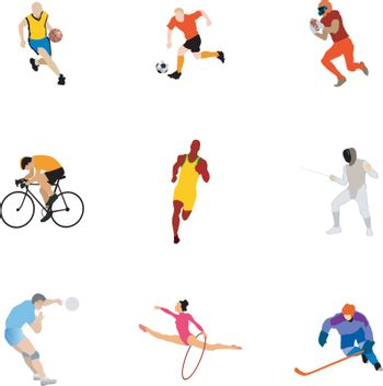 set of the different kinds of sport