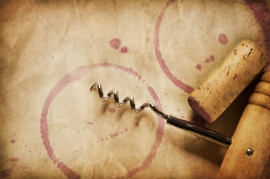 Wine Background. Wine Cork, Corkscrew And Red Wine Stains On The