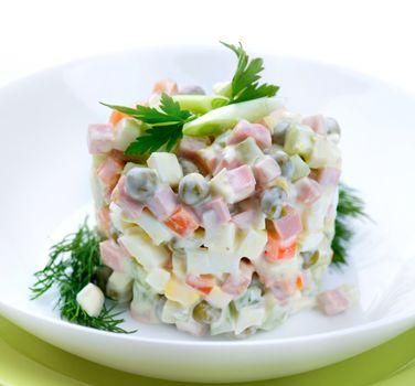 Salad Olivier. Russian traditional salad