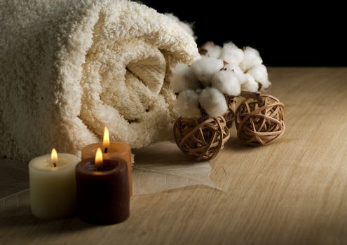 Cotton Towel And Candles
