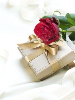 Wedding or Valentine gift over white silk