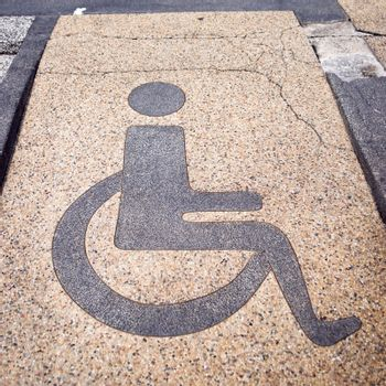 Disabled sign on the granite road