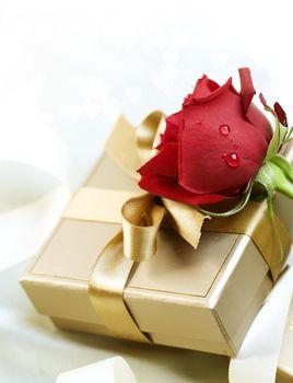 Valentine gift over white