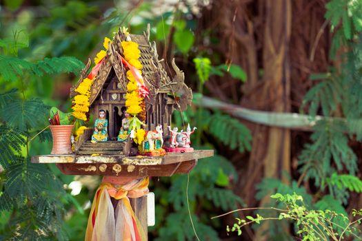 Buddhist house of spirit in Thailand, Asia