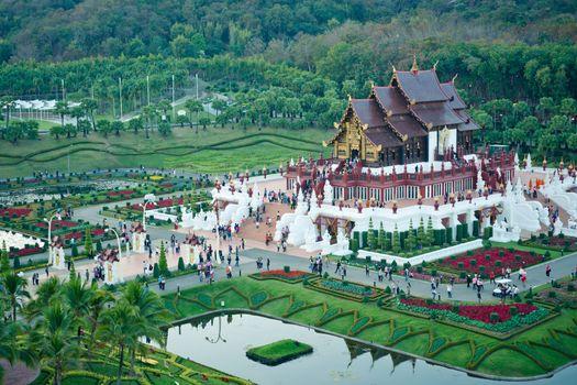 Chiang Mai, Thailand - 16 January, 2012:  Royal pavilion ( (Ho Kum Luang) in  traditional Lanna style at Royal Flora Ratchaphruek Exhibition in Chiang Mai, Thailand