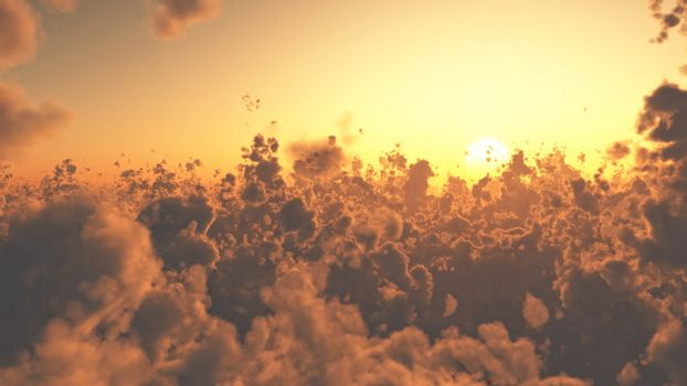 Aerial view of beautiful cloudscape at sunset