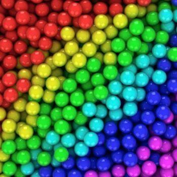 Heap of multicolored balls, three-dimensional computer graphic.