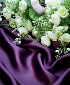 Bridal Bouquet over silk background