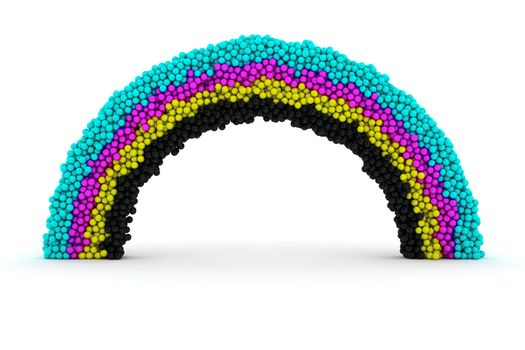 Rainbow made from many balls of CMYK colors
